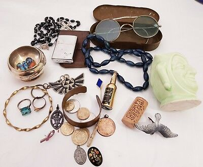 Collectable Antique & Vintage Job Lot Coins Jewellery Lighters Ronson and other