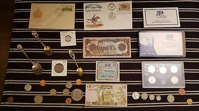 Junk Drawer Lot: Old U.S. Coins 1912+, Scrap Silver Coins, Currency, Proof Set +