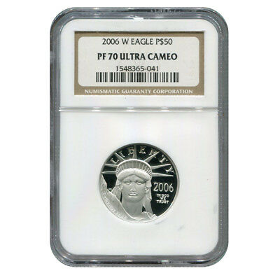 Certified Platinum American Eagle Proof 2006-W Half Ounce PF70 NGC