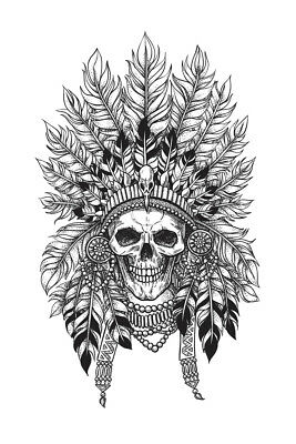 Crown of Feathers on A Skull Art Print Poster 12x18