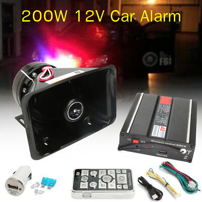 US 18 Sounds Car Warning Alarm Loud Speaker 200W PA Fire Siren Horn MIC System