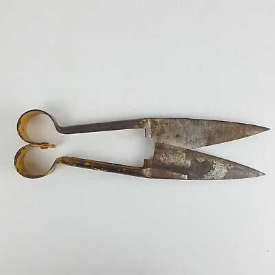 Antique Vintage Spring Steel Sheep Shears Topiary Farm Hand Clippers Metal Tools