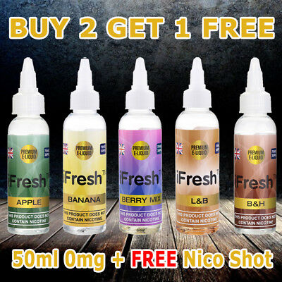 iFresh Ecig Shisha Eliquid Vape E Juice 50ML Shortfill 70/30 VG/PG 0mg TPD UK