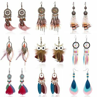 Women Long Tassel Earrings Owl Earrings with Leaves and Feather Bridal Jewellery