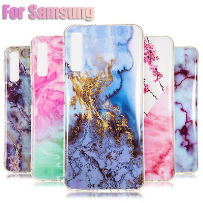 For Samsung Galaxy A9 A6 A8 A7 2018 S10 S9+ Marble Pattern Soft TPU Case Cover