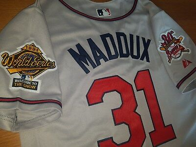 new product b3608 0c13d BRAND NEW GREY Atlanta Braves #31 Greg Maddux Majestic 2patch sewn Jersey  mens