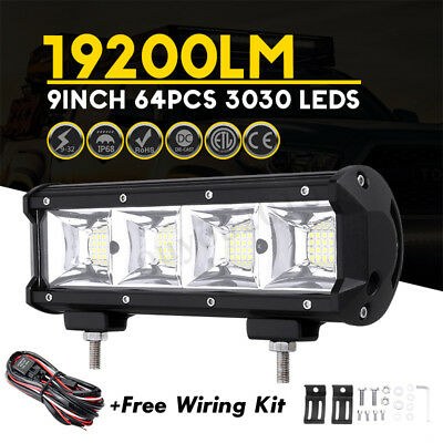 9 Inch 192W 19200LM LED Work Light Bar Flood Spot Lamp For Jeep Offroad + Wiring