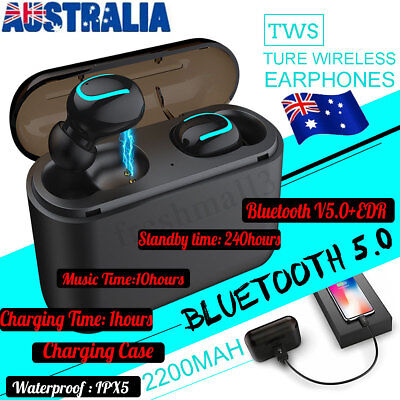 Mini TWS True Wireless Earbuds In-Ear Stereo bluetooth V5.0 Earphones Headset AU