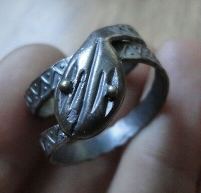 Ancient Roman Senatorial Silver Ring Snake Museum Quality Amazing