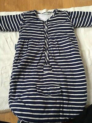 Jojo Maman Bebe navy striped sleeping bag removable sleeves 0-6 months 2.5 Tog