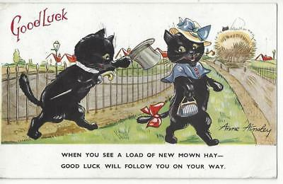 Artist Anne Ainsley Good Luck Black Cats - Following A Load Of New Mown Hay 1934