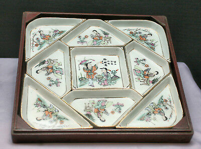 Rare Antique Chinese Huanghuali Wooden Wedding Box Porcelain Inserts Circa 1890s