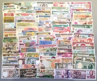 300 PCS Different Mix World Banknotes 35 Countries Genuine Currency Notes UNC