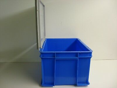 1X Heavy Duty Plastic Storage Stacking Container Box With Lid 400X300X220 20Ltr