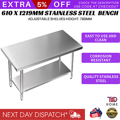 Stainless Steel Bench Table Commercial Home Kitchen Work Food Grade Shelf 430