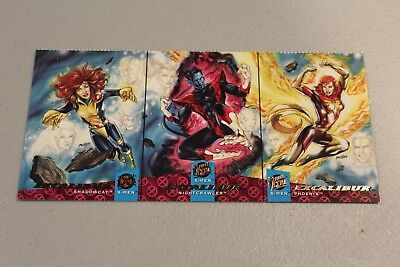 1994 Fleer Ultra X-Men EXCALIBUR Rare Uncut 3 Card PROMO SHEET HTF phoenix gift