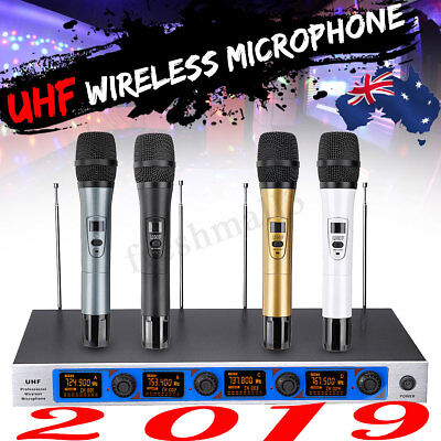 Pro 4 Channel 4 Cordless Handheld Mic UHF Wireless Microphone System Karaoke AU