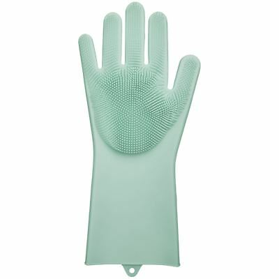 Rubber Silicone Scrubber Gloves Dish Cleaning Washing Up Kitchen Body Wash