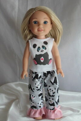 Wellie Wishers Dress Pajamas fits 14inch American Girl Doll Clothes Hearts Panda