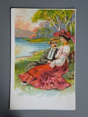 R&L Postcard: Superb Edwardian period Courting Couple Embossed Chromo