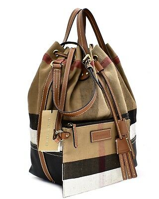 87d4715e3892 NWT BURBERRY BRIT Grainy Canvas Check Medium Ashby Tassel Hobo ROSE ...