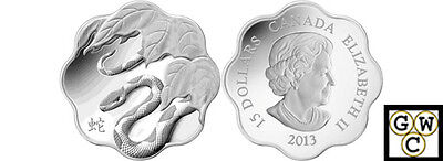 2013Year of the Snake Lunar Lotus-Scallop Shaped $15 Silver Coin Fine(NT)(13054)