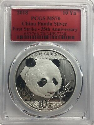 2018 10 Yuan China Silver Panda Coin 30 Grams .999 Silver PCGS MS70 - Red Label