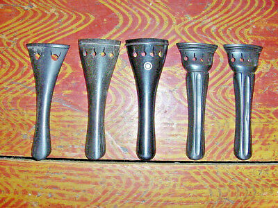5 VINTAGE VIOLIN EBONY TAILPIECE SOLD AS A LOT two are NOS from Germany  4/4