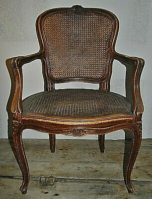 Vintage French Provincial Country Style Carved Wood & Cane Accent Chair