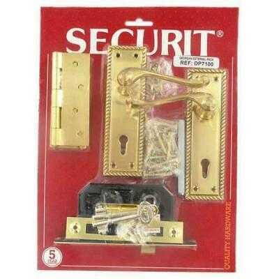 Securit DP7100 Georgian Brass External Front Back Door Lock Hinge & Handle Set
