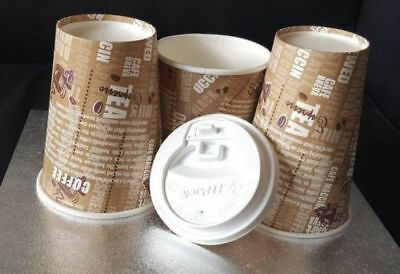 Disposable Paper CUPS & LIDS 7oz, 8oz,10oz,12oz Single Wall Cups Catering, Party