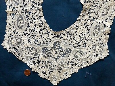Victorian Brussels Mixed duchesse bobbin point de gaze needle lace square collar