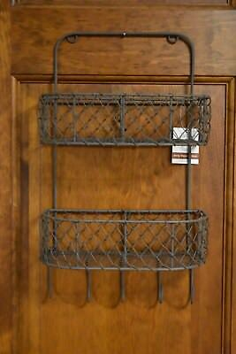 New Primitive Farmhouse Hanging Two Tiered Chicken Wire  Basket Hooks Home Decor