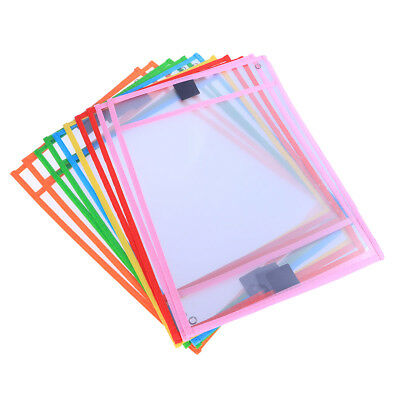10pcs Dry Erase Pocket Sleeves Resuable Write and Wipe Pockets for Children