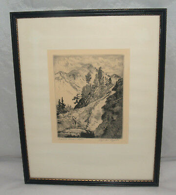 Art Print Lyman Byxbe Pencil Signed Etching Trail To Dream Lake Colorado