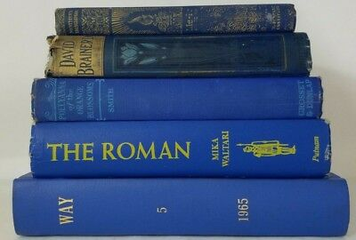 Lot 5 gorgeous Cobalt Lapis BLUE VINTAGE BOOKS rare old decorative Ships FREE!