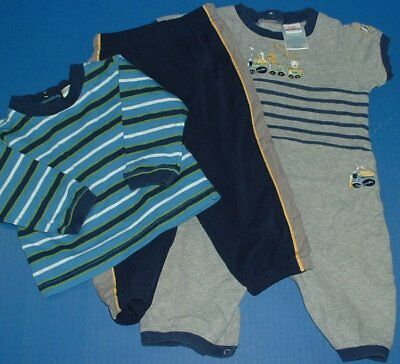 Baby Boy 4pc Striped Shirt Collared Romper Gray Long Romper Sweat Pants 6-9M