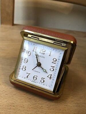 Vintage Europa 2 Jewels Travel Alarm Clock Hard Case Made In Germany