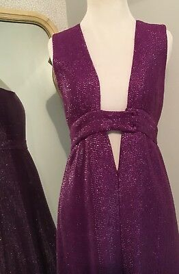 Scott Barrie Dress Gown Purple Metallic Stretch 1970's Absolutely Gorgeous!