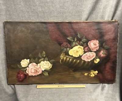 Antique Early 19th Century Oil Painting Floral Roses Flowers Still Life
