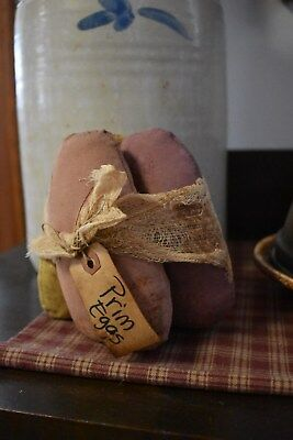 New Handmade Set Of 3 Cloth Primitive Easter Eggs Spring Home Decor