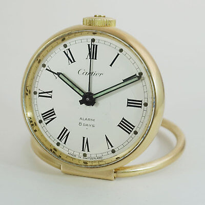 Cartier 8 Days Clock, Gilt Ring Clock, 1960ties, NICE Runs, Serviced - ALARM