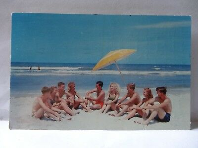 Fun On The Beach Somewhere In Florida , Post Marked Ormond Beach 1954 ,   1B