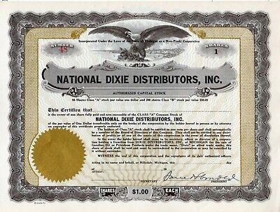 National Dixie Distributors of Hillsdale  Michigan about 1925  Stock Certificate