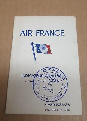 AIR FRANCE livret indicateur Général France et Colonies 1935-36