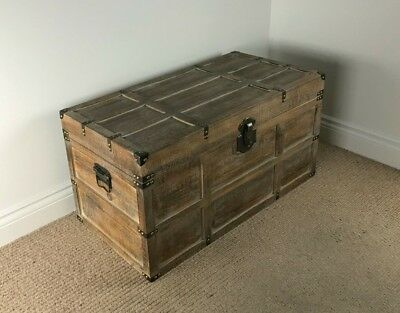 *Factory Second* Large Lightweight Wooden Chest RUSTIC SAWN TIMBER Vintage Trunk