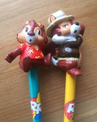 Vtg 1990s Set of 2 PVC Pencils by Applause & RESCUE RANGERS Chip 'N Dale Toppers