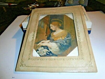 Vintage German Religious Picture Postcard St. Cecilia in frame with glass