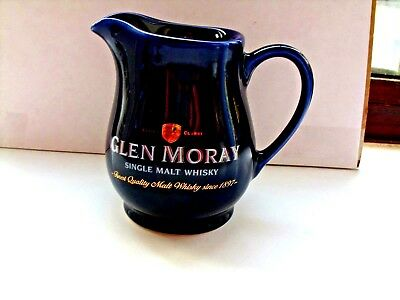 small glen moray scotch whisky water jug dark blue made by HCW in VGC