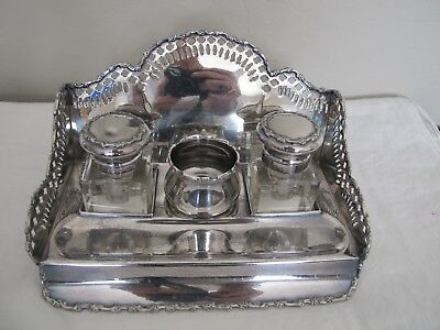 Vintage Glass and Plated Silver Inkwell Set